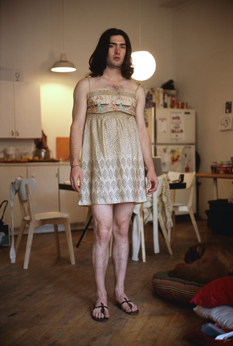 Portraits of Men Wearing Their Girlfriends Clothes