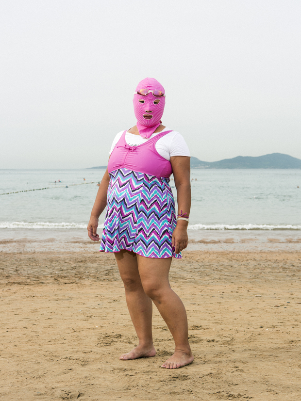 Woman wearing 'facekini'