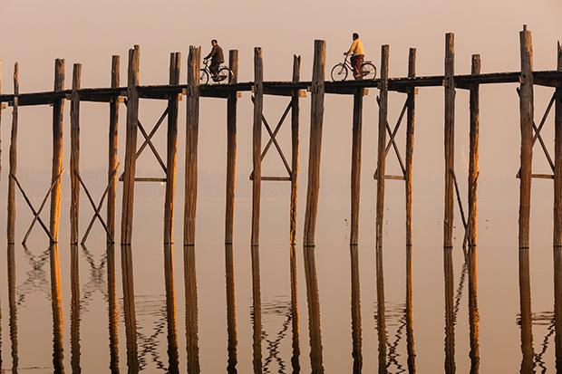 Biking Over the U Bein Bridge