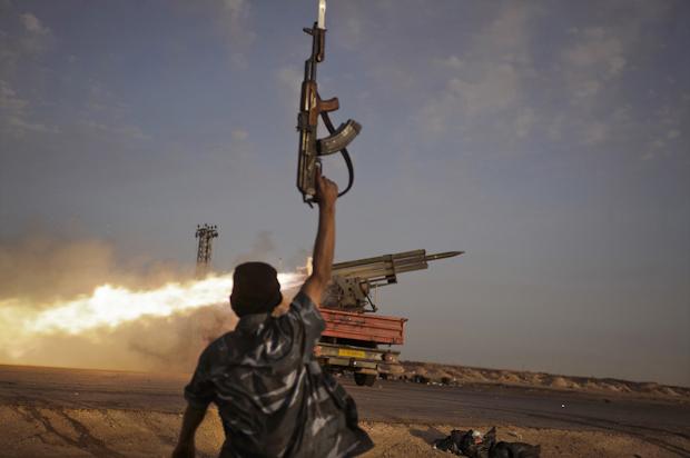 Rebel anti-Qadaffi fighters firing grad missiles at Brega,Libyan War, 2011