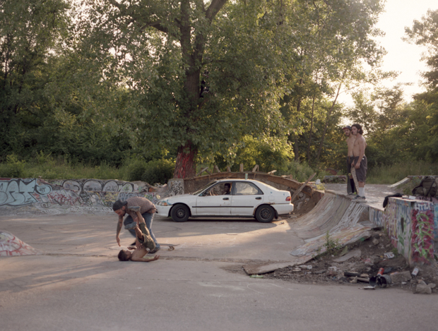 Mikey hits D.J. after dropping in as Murl, Willy and Melon watch. June 2014.