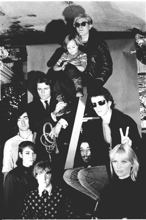 Andy Warhol with The Velvet Underground, Nico's son Ari Delon, Mary Wronov, and Gerald Malanga, 1966