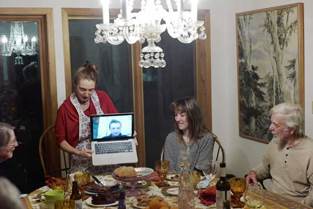 A Son Joins Thanksgiving Via Computer