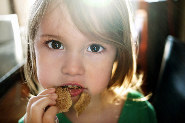 A little girl munches on a graham cracker. MODEL RELEASED.