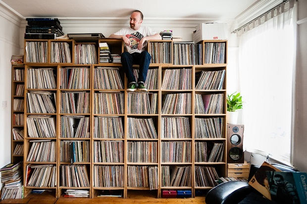 "Andy Carthy (Mr. Scruff) - Manchester, UK ""The soul 12-inch section of my collection doubles as a handy chair."""