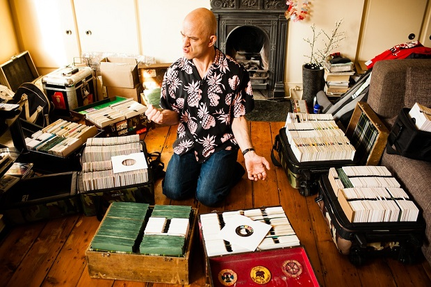 "Keb Darge - London, UK In the midst of packing for a permanent move to the Philippines, Keb stops to feel the power of 'Hi' Fi' Baby' by Teddy McRae.'' As Keb would say ""This is a tiny collection, a pittance. I used to have a huge collection but I got divorced 3 times."""