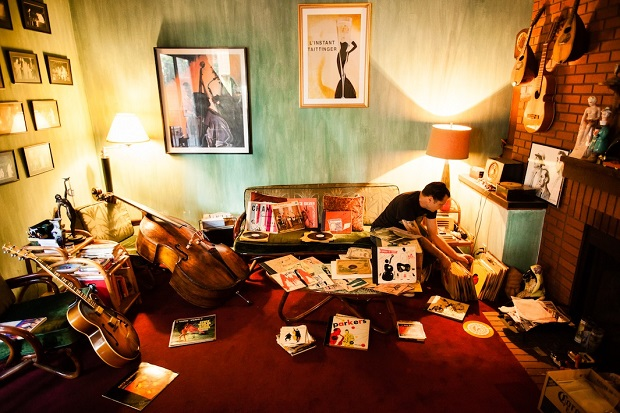 Joey Altruda, a vinyl record collector from Los ANgeles, CA photographed with his vinyl collection at his home for Dust & Grooves. © Copyright - Eilon Paz - www.dustandgrooves.com