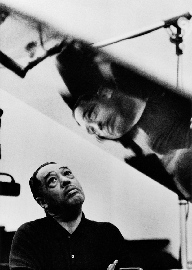 Parks, Duke Ellington Listening to Playback, Los Angeles, California, 1960, silver gelatin print