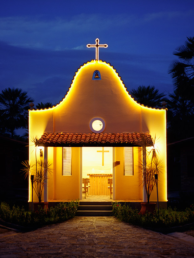 A small church at dusk at Porto Preguiças Resort. Barreirinhas, Brazil.