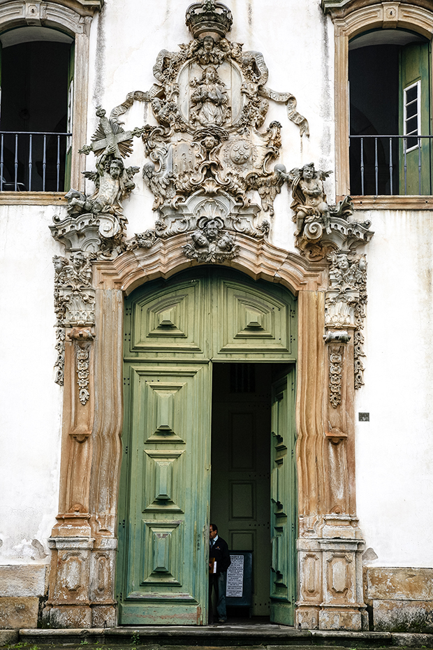 The soapstone doorway of Sao Francisco de Assis church, Ouro Preto, Brazil.