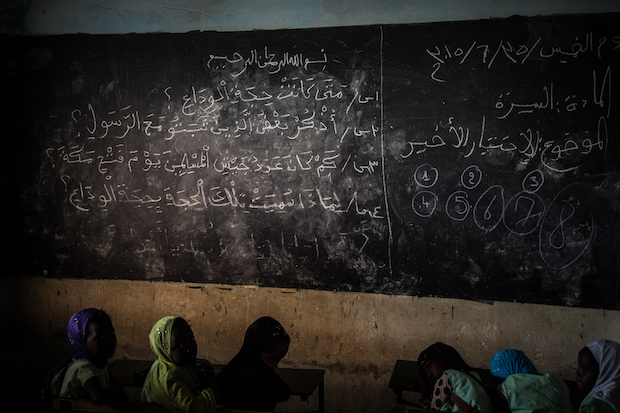 Little girls during a classroom in a conventional Koranic school in Saly, Senegal.