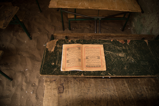 Book of Koran in a Koranic Shool in Saly, Senegal.