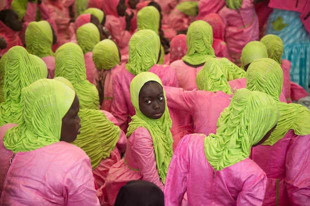 Little girls during a school koranic ceremony in Saly, Senegal.