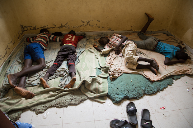 Children sleeping on the floor of a Daara, in very poor conditions, often sharing rooms between 10 and 15 boys.