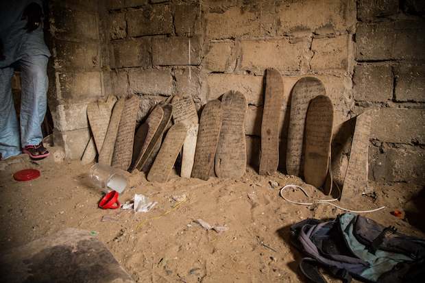 Wooden boards that are used to teach the Koran, in a Daara in the periphery of Dakar.