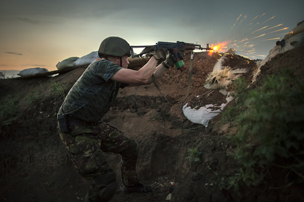 Ukrainian soldier engaged in battle with pro-Russian separatists on the frontline at Shirokino site, June 24th 2015, East of Ukraine. Photographer: Dmitri Beliakov/ for Sunday Times