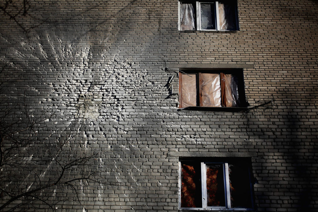 A house in Debaltsevo, February 23 2015, Ukraine, Debaltsevo. Photographer: Dmitri Beliakov/ for The Sunday Times