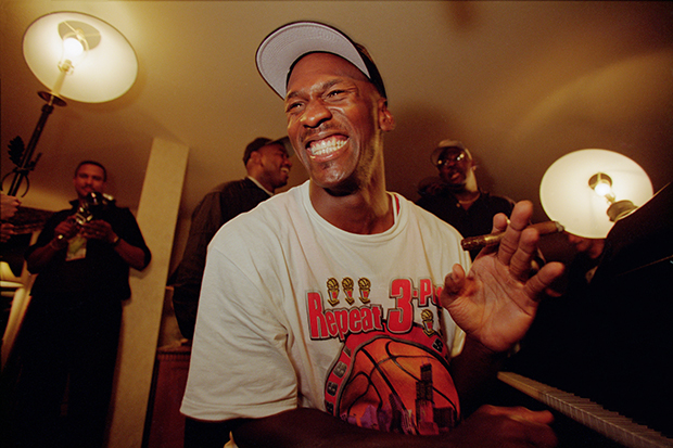 Walter Iooss_Michael Jordan, 1998 Championship Celebration in Hotel Salt Lake, UT