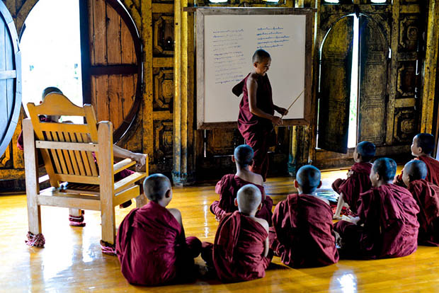 Resident monks learn the teachings of Buddhism at the Shwe Yan Pyay Monastery