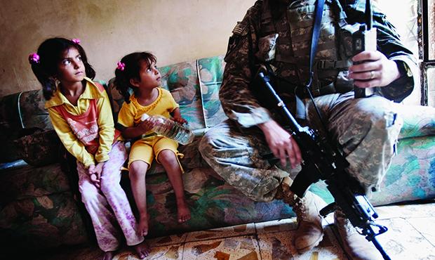American Troops Patrol in Southern Baghdad