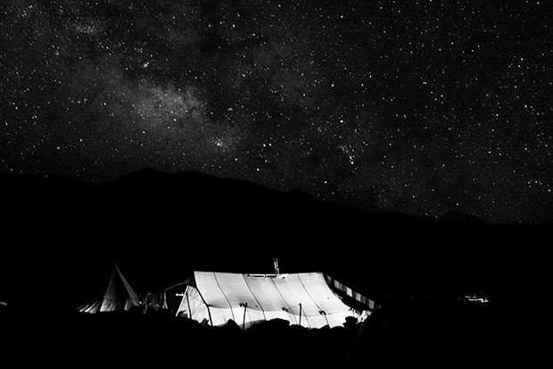 Ladakh nomads, India. A tent and the milky way in Zara.