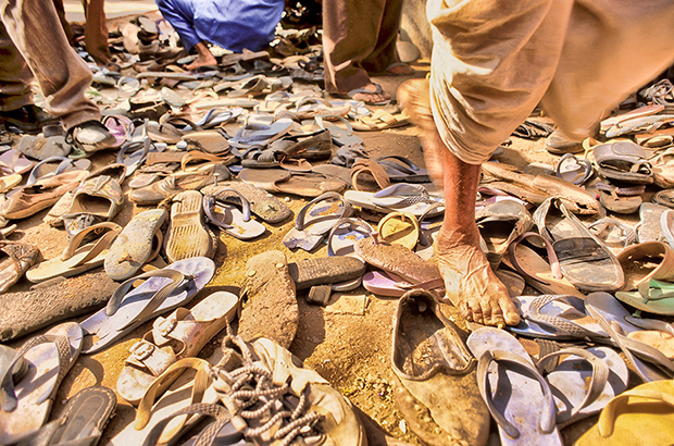 Sandals of Rajasthani people, Pushkar Fair, Pushkar, Thar Desert, Rajasthan India