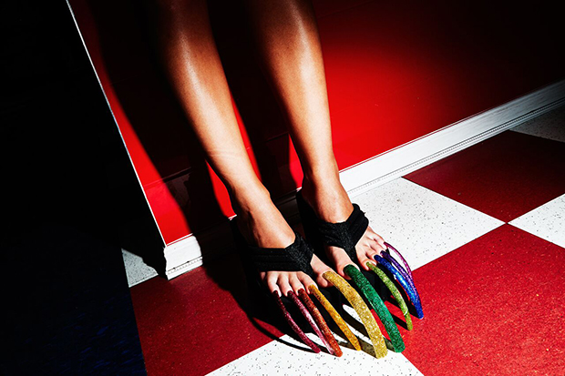 Whimsical Photos Of Over The Top Acrylic Toenails Feature Shoot